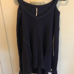 Free People Sweaters - Free People blue Cold Shoulder Sweater- size Small